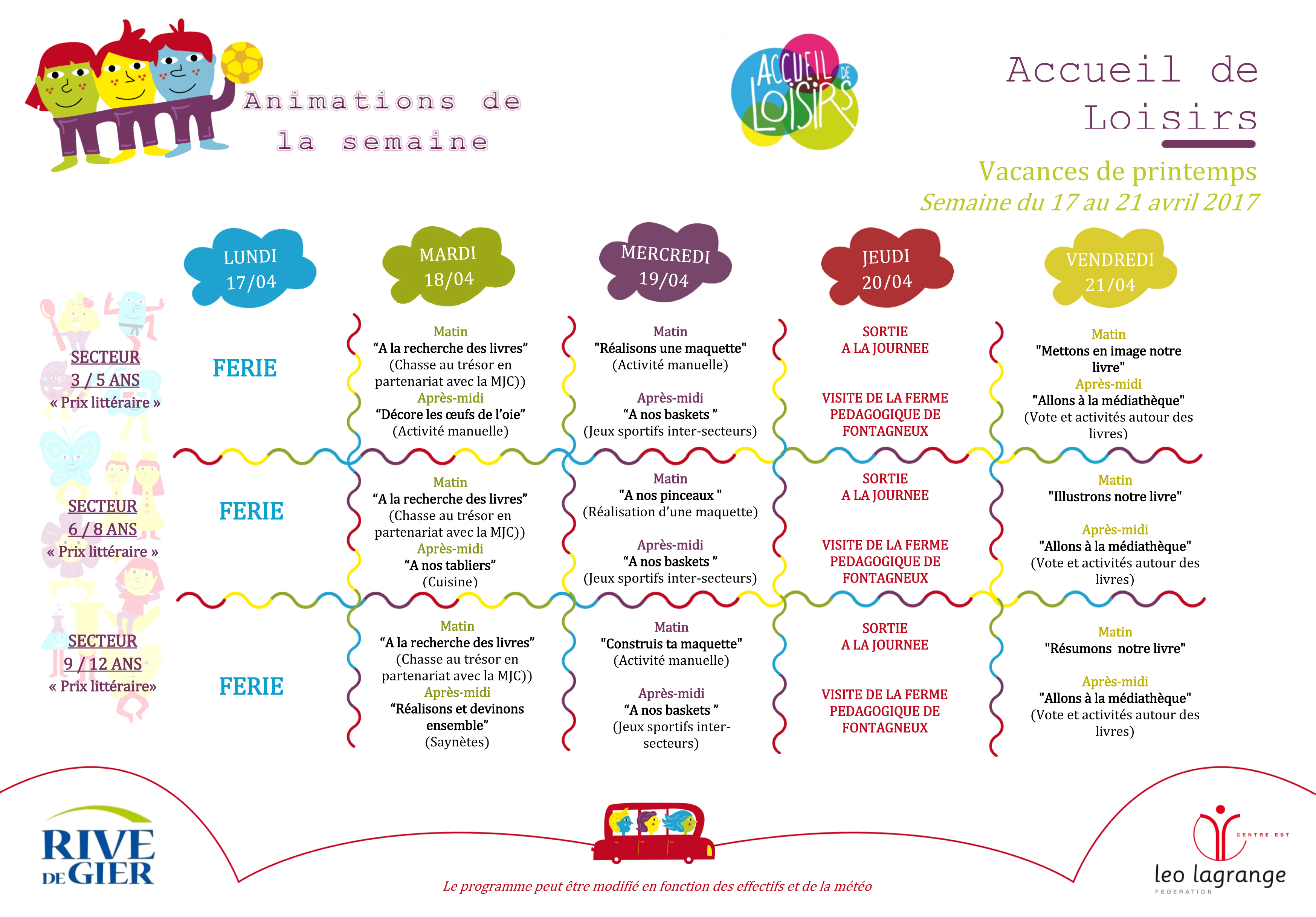 Programme 1ere semaine Avril